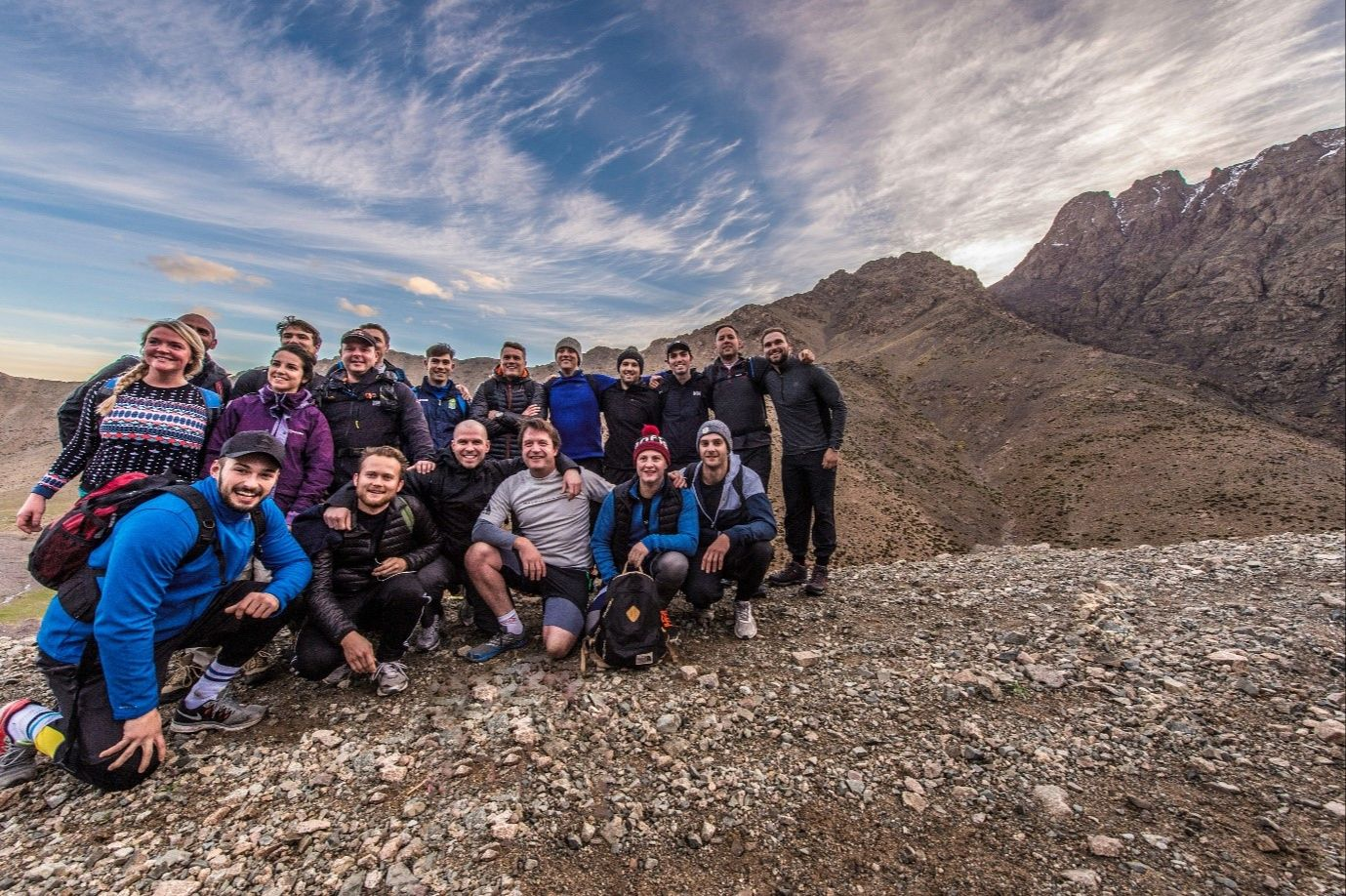 Some of the La Fosse management team stood atop the Atlas Mountains in their hiking gear
